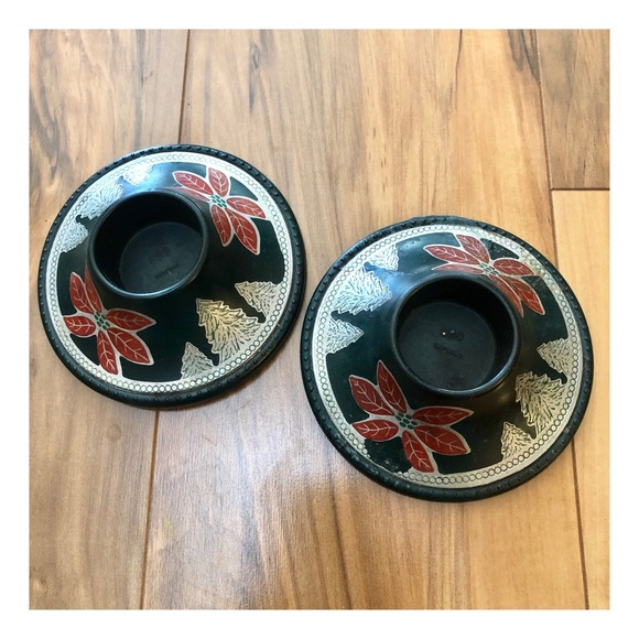 Vintage Set of Candle Holders, Holiday Look
